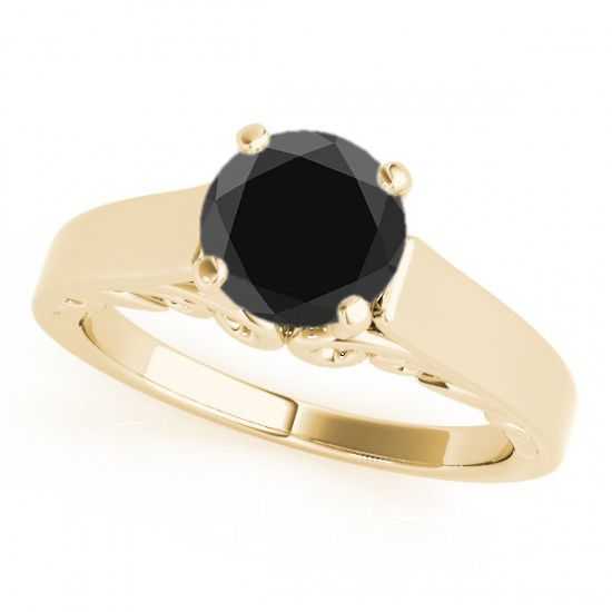 2 00 Carat Huge AAA Black Diamond Solitaire Wedding Ring Super Cheap in Price