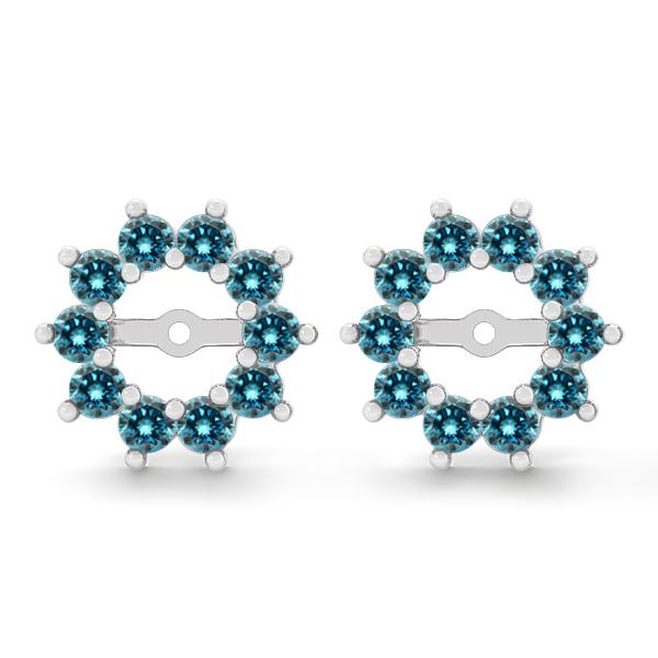 1 Carat Blue Round Diamond Solitaire Stud Earring Jackets Halo 14k WG Asaar | EBay