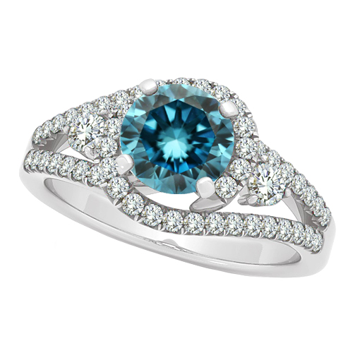 blue solitaire wedding bridal ring 14k white gold